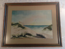 Original Watercolor Signed Seascape Painting by Cunningham Custom Framed & Mat