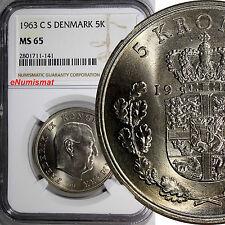 Denmark Frederik IX 1963 CS 5 Kroner NGC MS65  KEY DATE Low Mintage KM# 853.1