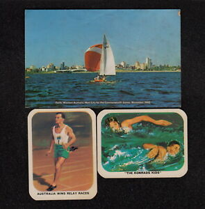 3755)    PERTH WESTERN AUSTRALIA 1962 COMMONWEALTH GAMES INVITE + 2 CEREAL CARDS