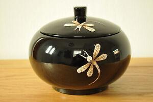 Decorative Handmade Lacquer & Eggshell Inlaid Wooden Round Box Jar black H040L