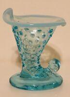 """Fenton Hobnail Blue Opalescent Glass Vase Horn of Plenty 3-3/4"""" Tall Horn Vase"""