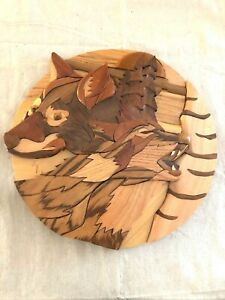 Call of the Wild Wood Sculpture by Rick Price  Signed 2003