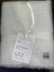 Pottery Barn White Waffle Weave Textured Organic Cotton Sham King