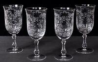 Set (4) ROSENTHAL SANSOUCCI Etched Crystal Stemmed Water Goblets Glasses 8oz