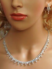 Elegant Bridal Crystal Necklace Earrings Set Prom Wedding Pageant Jewelry N1X9