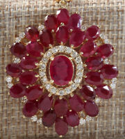 60.00 Carat Natural Ruby 14K Yellow Gold Diamond Medallion Necklace