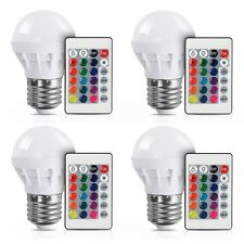 4Pcs 3W E27 RGB LED Light Bulb Color Changing Party Globe Lamp+IR Remote Control