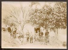 Photo gendarmes, facteur et autres, Vintage citrate print 1912 - 12 x 17 cm