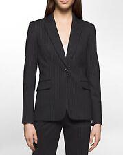 NWT Calvin Klein Women's Pinstripe Suit Jacket Black Cream Blazer Size 4