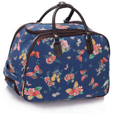 Ladies Travel Bags Holdall Hand Luggage Women's Weekend Handbag Wheeled Trolley Navy Butterfly S4