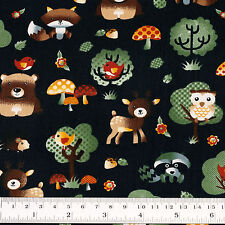 Cotton Fabric FQ. Woodland Animals Floral Polka Dot Mushroom & Tree Cartoon VA89
