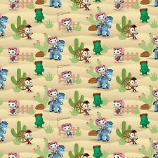 "Disney Sheriff Callie Western Scene premium 100% Cotton Fabric Remnant 35"""