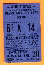 SCARCE 1971 BASKETBALL TICKET STUB-CINCY ROYALS/BUFFALO BRAVES-2/20/71