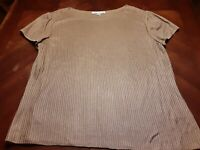 St. John Bronze Ribbed Short Sleeve Knit Top Wool Blend Size L