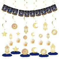 Eid Mubarak Decoration Set -Banner, hanging Swirls, Cake Toppers, Honeycomb Ball
