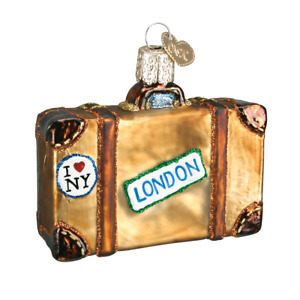 Old World Christmas SUITCASE travel (32105)N Glass Ornament w/OWC Box