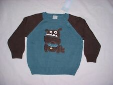NWT Gymboree Boys PUPPY DOG TAILS Blue & Brown Bulldog Pullover Sweater 12-18 M