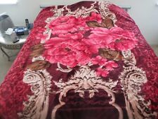 New! King Korean style Mink heavy weight blanket Rose burgundy red New 10 lbs