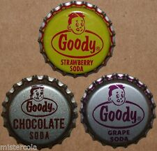Vintage soda pop bottle caps GOODY with boys face pic Collection of 3 different