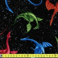 Timeless Treasures Fabric Dragons Black PER METRE Mystical Dragon Monster Tales