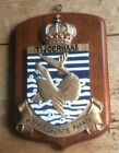 VINTAGE HAND PAINTED ROYAL NETHERLANDS NAVY ALLOY WALL PLAQUE - HNLMS TIJGERHAAI