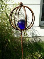Glaskugel Gartenstecker Rost Beetstecker Gartendeko Glasdeko 118*15cm Metall