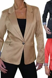 Ladies Smart Single Breasted Fully Lined Tailored Blazer Jacket 6-12