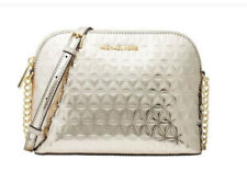 Michael Kors 32H7GF5C3K Cindy Leather Large Dome Cossbody Bag Champagne Silver
