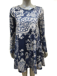 Women Ladies Printed Long Sleeve Swing Dress Flared A Line Skater Dress Top