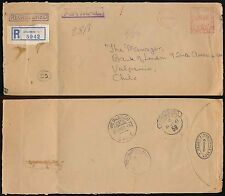 Ceilán a Chile correo aéreo registrado Medidor franqueado 1961