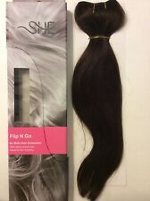"""New 18"""" SHE by Beyond The Beauty Flip N Go Human/Remy/Halo Hair Extensions #1B"""