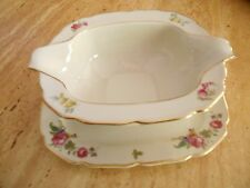 THOMAS IVORY BAVARIA DOUBLE SPOUTED FLORAL GRAVY BOAT W/ ATTACHED UNDERPLATE