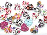 LOT 10 BOUTON COEUR BOIS MULTICOLORE SCRAP COUTURE SCRAPBOOKING PERLES BIJOUX