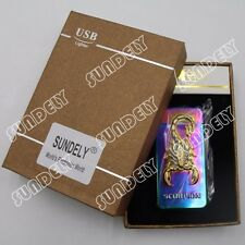 Electric Plasma X Double Arc Lighter Windproof Flameless USB Chroming Scorpion