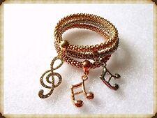 Gorgeous 3 x note musicali strass bracciali, musica, concerti, idea regalo, Bling, Set