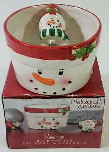 Pfaltzgraff Collectibles - Snowman Dip Bowl and Spreader  # 5160719 With Box