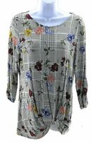 Como Blu Top Womens Size Small Black and White with Multi Colored Floral