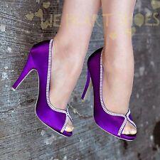 Ladies Satin Evening Shoe Peep toe &diamante trim Party High Heel size 3-8 30453