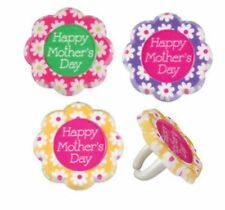 12 Mother's Day Flower Cupcake Rings Birthday Party Favors Cake Topper