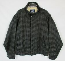 Vtg WOOLRICH Men's LG Zip Sherpa Lined Black Houndstooth Bomber Jacket Coat USA