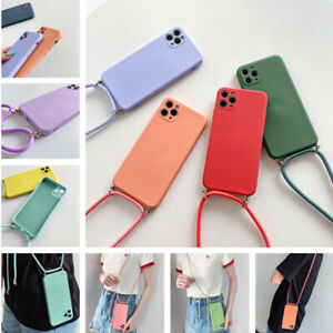 Square Liquid Silicone Case Cover For iPhone 11 12 Pro Max XR XS X 8 7 + Lanyard
