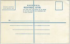 65038 - RHODESIA - POSTAL HISTORY: SAMPLES Registered STATIONERY COVER