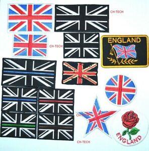 Union Jack British Embroidered Patch Iron On Sew Black UK Police England Flag