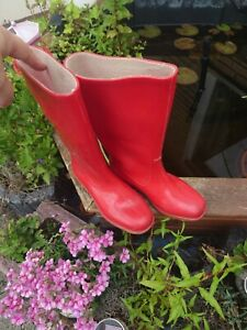 Alte Vintage NORA Fastica Gummistiefel  Gr 37 Rot helle Sohle Top 👍🙂
