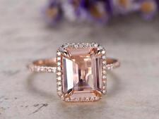1Ct Emerald Cut Simulant Morganite & Diamond Halo Ring Silver in Rose Gold Finsh