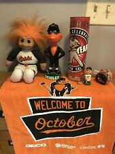 Huge Orioles Lot: Bird Mascot & Mini Bobble Head Keychain Troll Towel Canister