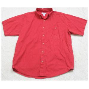 Large Cherokee Red Short Sleeve Man's Cotton Pocket Dress Shirt Men's Top M18