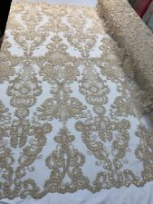 Champagne French Corded Design-embroider With Sequins Mesh Lace Fabric By Yard