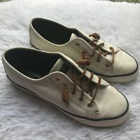 Sperry Women's Top Sider White Boat Shoes Memory Foam Sneakers 7.5 Leather Lace