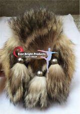 Scottish Kilt Sporran Fox Fur, fox fur head pure leather (Free Belt Included)